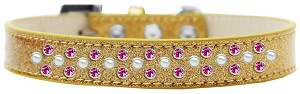 Sprinkles Ice Cream Dog Collar Pearl and Bright Pink Crystals Size 18 Gold