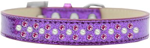 Sprinkles Ice Cream Dog Collar Pearl and Bright Pink Crystals Size 14 Purple