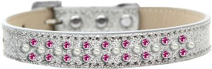 Sprinkles Ice Cream Dog Collar Pearl and Bright Pink Crystals Size 16 Silver