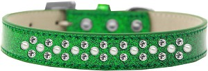 Sprinkles Ice Cream Dog Collar Pearl and Clear Crystals Size 14 Emerald Green