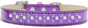 Sprinkles Ice Cream Dog Collar Pearl and Clear Crystals Size 16 Purple