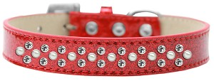 Sprinkles Ice Cream Dog Collar Pearl and Clear Crystals Size 18 Red