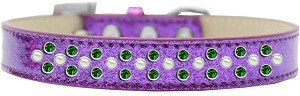 Sprinkles Ice Cream Dog Collar Pearl and Emerald Green Crystals Size 18 Purple
