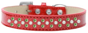 Sprinkles Ice Cream Dog Collar Pearl and Lime Green Crystals Size 14 Red