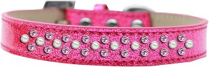 Sprinkles Ice Cream Dog Collar Pearl and Light Pink Crystals Size 16 Pink