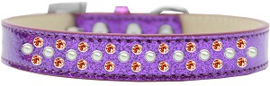 Sprinkles Ice Cream Dog Collar Pearl and Orange Crystals Size 14 Purple