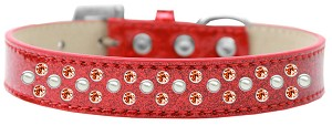 Sprinkles Ice Cream Dog Collar Pearl and Orange Crystals Size 14 Red