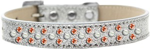 Sprinkles Ice Cream Dog Collar Pearl and Orange Crystals Size 20 Silver