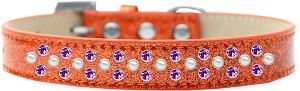 Sprinkles Ice Cream Dog Collar Pearl and Purple Crystals Size 14 Orange