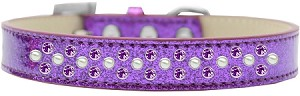 Sprinkles Ice Cream Dog Collar Pearl and Purple Crystals Size 14 Purple