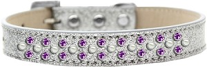 Sprinkles Ice Cream Dog Collar Pearl and Purple Crystals Size 18 Silver