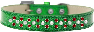 Sprinkles Ice Cream Dog Collar Pearl and Red Crystals Size 18 Emerald Green