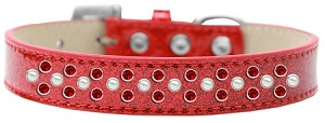 Sprinkles Ice Cream Dog Collar Pearl and Red Crystals Size 16 Red
