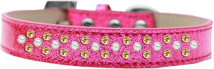 Sprinkles Ice Cream Dog Collar Pearl and Yellow Crystals Size 18 Pink