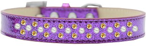 Sprinkles Ice Cream Dog Collar Pearl and Yellow Crystals Size 16 Purple
