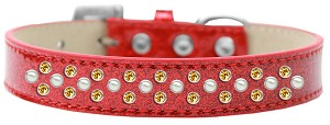 Sprinkles Ice Cream Dog Collar Pearl and Yellow Crystals Size 18 Red