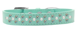 Sprinkles Dog Collar Pearl and AB Crystals Size 16 Aqua