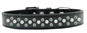 Sprinkles Dog Collar Pearl and AB Crystals Size 20 Black