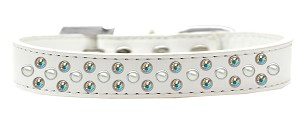 Sprinkles Dog Collar Pearl and AB Crystals Size 14 White