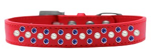 Sprinkles Dog Collar Pearl and Blue Crystals Size 16 Red