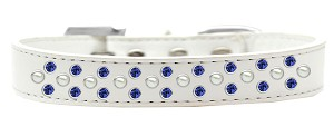 Sprinkles Dog Collar Pearl and Blue Crystals Size 14 White