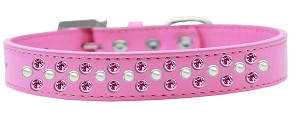 Sprinkles Dog Collar Pearl and Bright Pink Crystals Size 16 Bright Pink