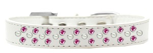 Sprinkles Dog Collar Pearl and Bright Pink Crystals Size 12 White