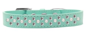 Sprinkles Dog Collar Pearl and Clear Crystals Size 16 Aqua