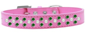 Sprinkles Dog Collar Pearl and Emerald Green Crystals Size 18 Bright Pink