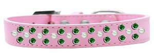 Sprinkles Dog Collar Pearl and Emerald Green Crystals Size 12 Light Pink