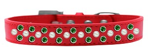 Sprinkles Dog Collar Pearl and Emerald Green Crystals Size 20 Red