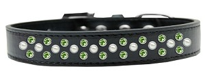 Sprinkles Dog Collar Pearl and Lime Green Crystals Size 12 Black