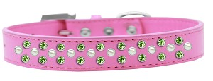 Sprinkles Dog Collar Pearl and Lime Green Crystals Size 14 Bright Pink