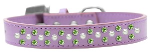 Sprinkles Dog Collar Pearl and Lime Green Crystals Size 18 Lavender