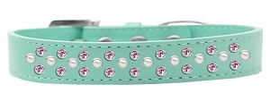 Sprinkles Dog Collar Pearl and Light Pink Crystals Size 14 Aqua