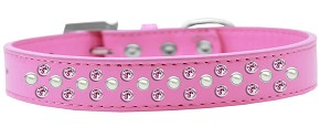 Sprinkles Dog Collar Pearl and Light Pink Crystals Size 14 Bright Pink
