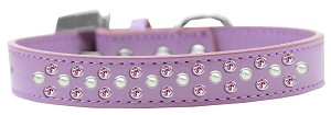 Sprinkles Dog Collar Pearl and Light Pink Crystals Size 14 Lavender