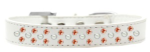 Sprinkles Dog Collar Pearl and Orange Crystals Size 14 White