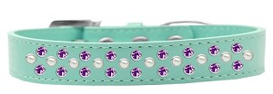 Sprinkles Dog Collar Pearl and Purple Crystals Size 12 Aqua