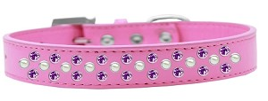 Sprinkles Dog Collar Pearl and Purple Crystals Size 16 Bright Pink
