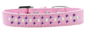 Sprinkles Dog Collar Pearl and Purple Crystals Size 18 Light Pink