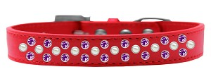 Sprinkles Dog Collar Pearl and Purple Crystals Size 20 Red