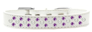 Sprinkles Dog Collar Pearl and Purple Crystals Size 16 White