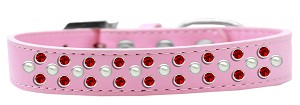 Sprinkles Dog Collar Pearl and Red Crystals Size 12 Light Pink