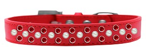 Sprinkles Dog Collar Pearl and Red Crystals Size 20 Red
