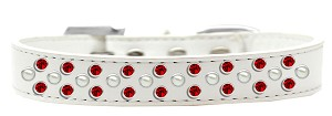 Sprinkles Dog Collar Pearl and Red Crystals Size 18 White