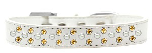 Sprinkles Dog Collar Pearl and Yellow Crystals Size 14 White