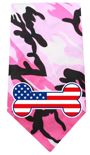America Bone Flag Screen Print Bandana Pink Camo