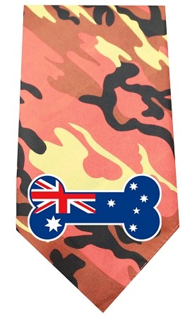Australian Bone Flag Screen Print Bandana Orange Camo