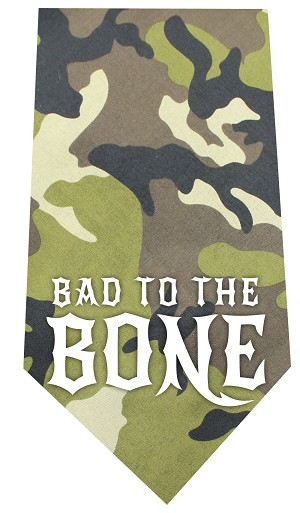 Bad to the Bone Screen Print Bandana Green Camo